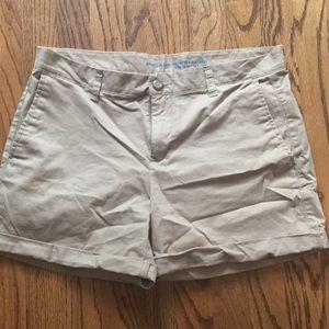 Khaki shorts.